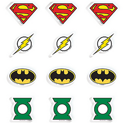 Make the bad guys disappear with Justice League Erasers. Each eraser is shaped like the logo of Superman, The Flash, Green Lantern, or Batman. Drop these Justice League party favors in each of your superhero goodie bags. Justice League Erasers product details:  12 per package 3 each of 4 designs Largest eraser, 1 3/4in wide x 1 1/2in tall Smallest eraser, 1 1/4in wide x 1 1/2in tall Rubber