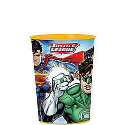 This Justice League Favor Cup has the power to hold not only cool drinks, but also superhero party favors! This reusable plastic cup features a wraparound print of the Justice League team in action. A superhero cup is a cool party favor for little ones to bring home! Justice League Favor Cup product details:  16oz capacity 3 1/2in diameter x 4 1/2 tall BPA-free plastic Reusable Top-rack dishwasher-safe Not recommended for boiling liquids or microwave use