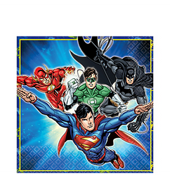 Justice League Lunch Napkins are here to save your party from a mess. Superman, The Flash, Green Lantern, and Batman are flying into action on these blue superhero napkins to keep your table clean. Justice League Lunch Napkins product details:  16 per package 6 1/2in x 6 1/2in when folded 2-ply paper