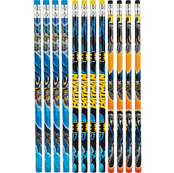 Write your own Batman comic with our Batman Pencils! Featuring three colorful designs of the Caped Crusader in crime-fighting action, this assortment of blue and orange pencils have black, yellow, or blue erasers. Great as party favors or prizes, these pencils measure 7 1/2in. Package contains 12 wooden Batman Pencils.