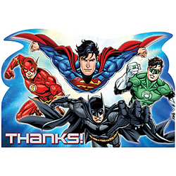Thank your guests for helping you save the day with Justice League Thank You Notes. These postcard-style thank you notes feature everyone's favorite superheroes: Superman, The Flash, Batman, and Green Lantern. Flip the Justice League thank you cards over and let your little superhero write a special note to their friends! Package contains cards and blue envelopes for eight guests. Justice League Thank You Notes include:  8 postcard thank you notes, 6 1/4in wide x 4 1/4in tall 8 envelopes 8 sticker seals, 1 1/2in diameter
