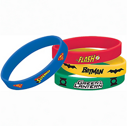 Never fear — we have a great addition to your Justice League goodie bags! Each package of Justice League Wristbands includes a Batman, The Flash, Green Lantern, and Superman wristband. Rubber wristbands match the colors of each superhero and are printed with their logo. Justice League Wristbands product details:  4 per package 3 1/2in diameter Rubber One size fits most WARNING: CHOKING HAZARD Not for children under 3 years.