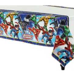 The Justice League Table Cover is here to protect your table from evil messes. Featuring Batman, Superman, Aquaman, and more, this superhero table cover is printed with a border of superhero logos. This plastic table cover is durable and reusable, making cleanup super easy for parents! Justice League Table Cover product details:  54in wide x 96in long Plastic Reusable Suitable for indoor and outdoor use
