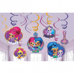 Shimmer and Shine Value Pack Foil Swirl Decorations (12)