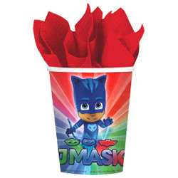 After a night of fighting crime, it's time to rehydrate with PJ Masks Cups. Each paper cup features a wraparound print of the PJ Masks crew of Catboy, Owlette, and Gekko ready for action. PJ Masks Cups are a super addition to the place settings at your PJ Masks party or pajama party. PJ Masks Cups product details:  8 per package 3in diameter x 3 1/2in tall 9oz capacity Paper Suitable for hot and cold beverages Made in the USA