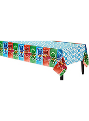 Type a description for this product here...Be prepared for a mess when the PJ Masks are on a mission! Use a PJ Masks Table Cover to protect your party table from spills and scratches — plus, it matches your PJ Masks decorations. This plastic table cover features Catboy, Owlette, and Gekko on the sides. In the center are each team member's symbols against a white background. Whether your PJ Masks birthday party is indoors or out, a plastic table cover is the perfect choice!  PJ Masks Table Cover product details:  54in wide x 96in long Plastic Reusable Suitable for indoor or outdoor use