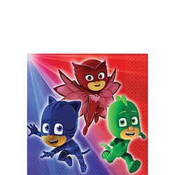 Set a super-cool table with PJ Masks Beverage Napkins. These small paper napkins feature the PJ Masks crew of Catboy, Owlette, and Gekko ready for action. Fighting crime can be a bit messy, so keep a stack of PJ Masks napkins on hand for quick cleanup! PJ Masks Beverage Napkins product details:  16 per package 5in x 5in when folded 2-ply paper Made in the USA