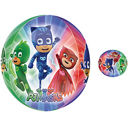 Cuz bedtime is the right time to fight crime! Complete your superhero birthday decorations with this Orbz PJ Masks Balloon! Colorful foil balloon features Catboy, Gekko, and Owlette on a blue, green, and red background. You can match this balloon with other decorations and tableware for your PJ Masks birthday. Bring your favorite crime fighting trio to your party with this PJ Masks balloon! Orbz PJ Masks Balloon product details:  15in diameter x 16in tall Foil Self-sealing Reusable Includes directions and inflation gauge Made in the USA