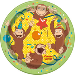 """Your little monkeys will love munching on party snacks with our Curious George Party Plates. This pack of 8 Curious George plates is sure to add extra charm to the table at a kids Curious George birthday party. These 7-inch paper plates are just the right size for serving kids snacks or slices of birthday cake. You'll also love that our disposable plates make cleanup fast and easy. You can plan your child's special birthday party with our wide selection of Curious George themed party supplies.   Details:  • 8 Curious George Party Plates  • Paper Cake Plates measure 7""""  • Ideal size for party snacks or birthday cake  • Disposable plates make cleanup easy  • Manufactured in the USA  • Cute for a kids Curious George themed birthday party  • Combine with more Curious George party supplies"""