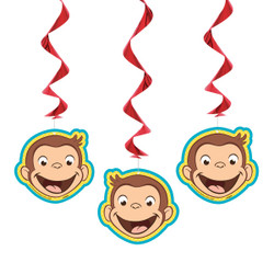 """Add a little character to your child's birthday party with these cute Hanging Curious George Decorations. These 26-inch hanging swirls each have a Curious George-shaped decoration on the end. You can use this trio of Curious George decorations for any kids Curious George theme party. It couldn't be easier to hang all three Curious George cutouts in a doorway or from the ceiling above a party table. We also have a large selection of other Curious George party supplies and decorations to complete the party theme.   Details:  • 3 Hanging Curious George Decorations  • Hanging Swirls measure 26"""" long  • Hang in a doorway, in a window, or above a party table  • Cute for a kids Curious George themed birthday party  • Combine with more Curious George party supplies"""