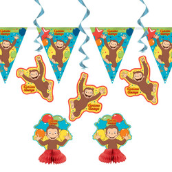 """Our Curious George Party Decorating Kit makes it easy to fill your child's birthday party with bright color and charm. This Curious George birthday kit includes four 36-inch hanging Curious George decorations that will look adorable dangling in doorways and windows. This party pack also boasts two 6-inch Curious George centerpieces to decorate your party table. You can hang the included 8-foot Curious George party banner on any wall for an extra pop of cute character! If you want to go BANANAS with your monkeyshines, shop our wide selection of more Curious George themed party supplies and decorations.   Details:  • Curious George Party Decorating Kit Includes:  • 2 Curious George Centerpiece Decorations (6"""" tall)  • 4 Hanging Curious George Decorations (36"""")  • 1 Curious George Pennant Banner (8ft long)  • Combine with more Curious George party supplies"""