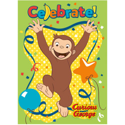 """Party animals will go BANANAS when they find our Curious George Invitations waiting in their mailbox. Each pack comes with 8 party invitations decorated with the cheerful chimp that kids love, and they're just right for a Curious George birthday party. Use the fill-in-the-blank style lines on the inside of each Curious George invitation card to provide all your important party info, then seal them up in the included envelopes! All you need is a few stamps to mail the invitations, or you can let the birthday boy pass them out to his friends at school. You'll be ready to party like a primate when you shop the rest of our Curious George party supplies! 8 Curious George Birthday Invitations (5.5"""" x 4"""") Invite Cards come with envelopes for easy mailing Use Curious George themed party supplies for a boy's birthday party"""