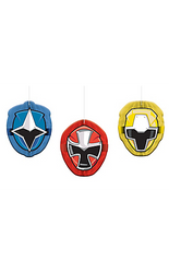 Match these Power Rangers Ninja Steel Honeycomb Balls with the rest of your Power Rangers decorations! These honeycomb decorations feature cutouts shaped like the masks of Ninja Steel Red, Ninja Steel Blue, and Ninja Steel Yellow. Use the attached strings to hang these Power Rangers decorations from the ceiling. Your little one and their ninja squad will feel like they're in Summer Cove when they walk into the Power Rangers party decorated with these honeycomb balls! Power Ranger Ninja Steel Honeycomb Balls product details:  3 per package 4 3/4in wide x 6in tall Cardstock and tissue paper Include strings for hanging Arrive flat Simple assembly required