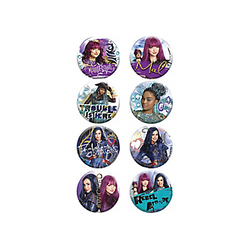 "Show off your favorite Disney Descendants characters with Descendants 2 Buttons! Featuring characters such as Uma, Mal, and Evie, plus headlines including ""Trouble is Here"" and ""Fabulous Without Magic,"" these metal buttons are the perfect accessories to wear at a Disney Descendants party. The safety pin backing makes them easy to wear on clothing or to attach to decorations. Descendants 2 Buttons product details:  8 per package 1 3/4in diameter Metal Safety pin backing ⚠ WARNING: CHOKING HAZARD - Small parts. Not for children under 3 years.  ⚠ WARNING: This product contains a functional sharp point."