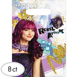 Treat your little ones like princes and princesses with Descendants 2 Favor Bags! These plastic favor bags with cutout handles feature Mal against a colorful background printed with gold glitter and gems. Keep bags of Disney Descendants party favors organized by writing guests' names in the top section. Let your little villains know that they're gems by giving them Descendants loot bags filled with goodies! Descendants 2 Favor Bags product details:  8 per package 6 1/2in wide x 9 1/4in tall Plastic