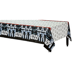 The Galactic Empire is taking over your party table! This Star Wars Table Cover features Darth Vader and his Stormtroopers against a red background on the sides. The center of the table cover has repeating logos for the Galactic Empire and Rebel Alliance. A plastic table cover adds to your Star Wars decorations while also making your party easier to clean up! Star Wars Table Cover product details:  54in wide x 96in long Plastic Reusable Suitable for indoor or outdoor use