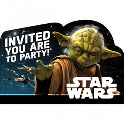"Invite friends living on Endor and Tatooine to your birthday party with Star Wars Invitations. These birthday invitations feature Yoda in front of a star-filled background with an ""Invited You Are to Party"" headline. Friends will find your party at light-speed when you flip the postcard-style invitations over and write down the intergalactic coordinates of your birthday party! Star Wars Invitations also include blue envelopes, sticker seals, and save-the-date stickers. Star Wars Invitations include:  8 postcard invitations, 6 1/4in wide x 4 1/4in tall 8 envelopes 8 sticker seals, 1 1/4in diameter 8 save-the-date stickers, 1 1/4in x 1 1/4in"