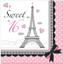 One 18 count package of 6.5 inch Paris Party Sweet 16 Lunch Napkins. Celebrate a very Sweet 16 with these charming napkins. Create a stylish display by layering your Paris Party Sweet 16 Lunch Napkins with solid color napkins, and spreading them out on your buffet table. Try adding stripes and polka dots, too!