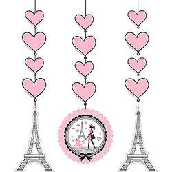 Online Only 36in Cardstock Decorations SKU: 653442  Was: $4.99 Now: $3.99 Pink Paris String Decorations will have you dreaming of the Eiffel Tower! Each of these hanging paper decorations is a string of double-sided pink heart cardstock cutouts. Cutouts of the Eiffel Tower and a Parisian and her poodle strolling by the Eiffel Tower are featured at the bottom. Pink Paris String Decorations product details:  3 per package Each measures 36in Cutouts range from 6in to 7in Cardstock