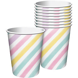 Pastel Striped Cups 8ct