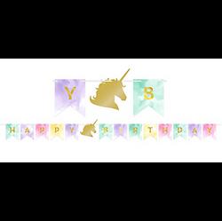 Sparkling Unicorn Happy Birthday Pennant Banner