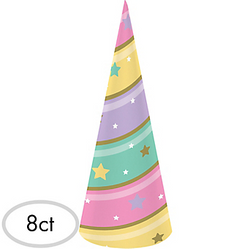 Pastel Striped Party Hats 8ct