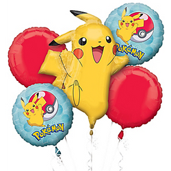 Pokeballs & Pikachu Balloon Bouquet 5pc