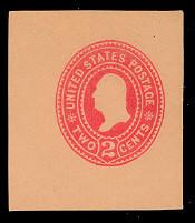 U369 2c Carmine on Oriental Buff, die 3, Mint Cut Square, 40 x 45