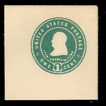 U379 1c Green on White, Mint Full Corner
