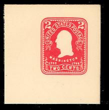 U385 2c Carmine on White, Mint Full Corner