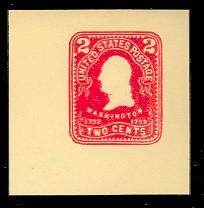 U386 2c Carmine on Amber, Mint Cut Square