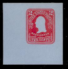 U388 2c Carmine on Blue, Mint Full Corner