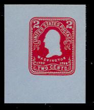 U388 2c Carmine on Blue, Mint Cut Square