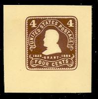 U391 4c Chocolate on Amber, Mint Cut Square
