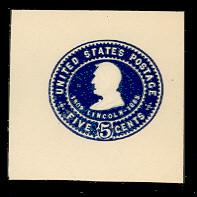 U393 5c Blue on White, Mint Cut Square