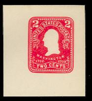 U395 2c Carmine on White, Mint Cut Square