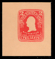 U397 2c Carmine on Oriental Bull, Mint Cut Square
