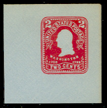 U398 2c Carmine on Blue, Mint Full Corner