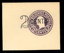 U446a 2c on 3c Dark Violet on White, die 5, Mint Full Corner