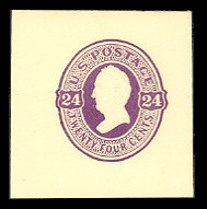 U100 24c Purple on Amber, Mint Full Corner, 43 x 44