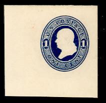U108 1c Dark Blue on White, die 1, Mint Full Corner, 48 x 46