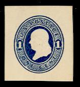 U108 1c Dark Blue on White, die 1, Mint Cut Square, 34 x 37