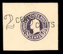 U446 2c on 3c Dark Violet on White, die 1, Mint Full Corner, 44 x 52, Double Surcharge