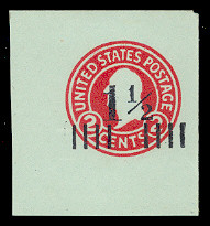U504a 1 1/2c on 2c Carmine on Blue, die 7, Mint Full Corner, 43 x 47