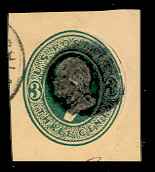 U161 3c Green on Cream, die 1, Used Cut Square