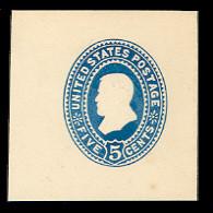U334 5c Blue on White, die 2, Mint Cut Square, 44 x 44