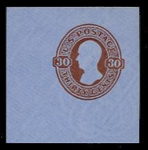 U339 30c Red Brown on Blue, Mint Cut Square, 48 x 48