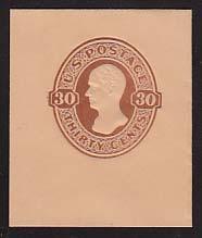 U338 30c Red Brown on Oriental Buff, Mint Cut Square, 43 x 50