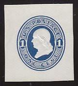 U108a 1c Light Blue on White, die 1, Mint Cut Square, 36 x 40