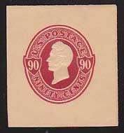 U214 90c Carmine on Oriental Buff, Mint Full Corner, 40 x 44